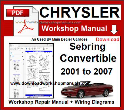 Chrysler Sebring Convertible  Service Repair Workshop Manual pdf