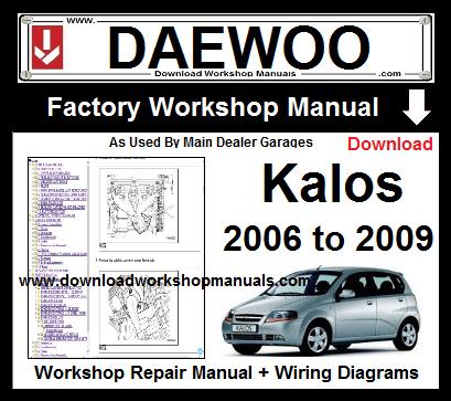 daewoo kalos workshop service repair manual download