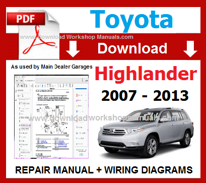 Toyota Highlander 2007 to 2013 Workshop Manual Download PDF