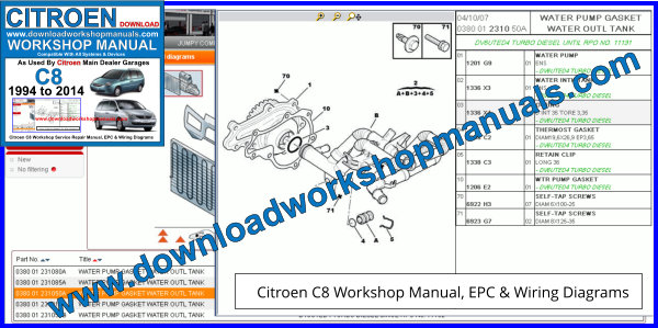 Citroen C8 Workshop Manual, EPC + Wiring Diagrams
