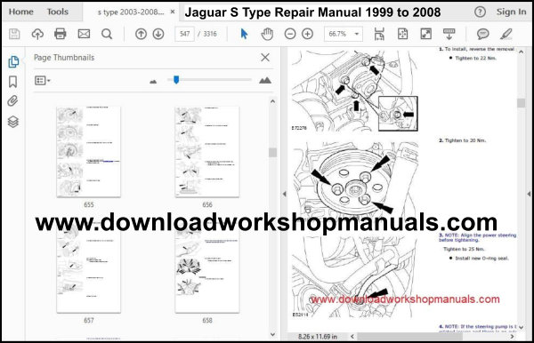 Jaguar S Type Repair Manual 1999 to 2008