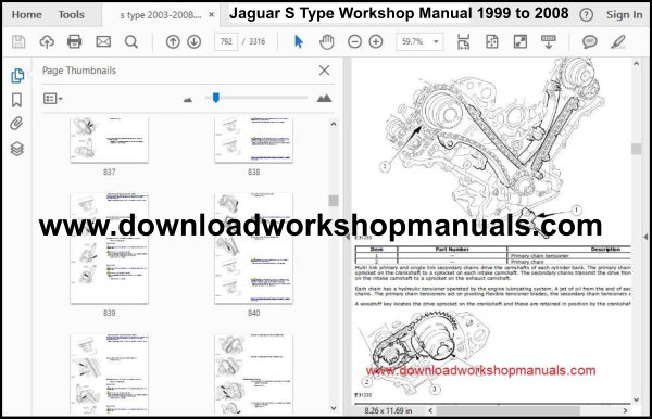 Jaguar S Type Workshop Manual 1999 to 2008