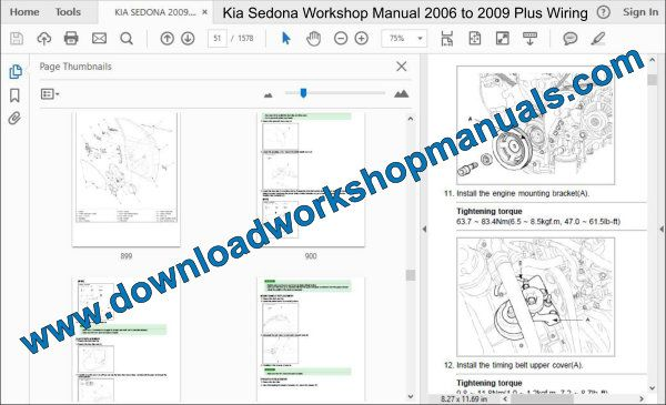Kia Sedona Workshop Manual 2006 to 2009 Plus Wiring
