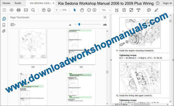 Kia Sedona 2006 To 2009 Workshop Repair Manual
