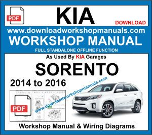 Kia Sorento repair workshop manual 2014 to 2016