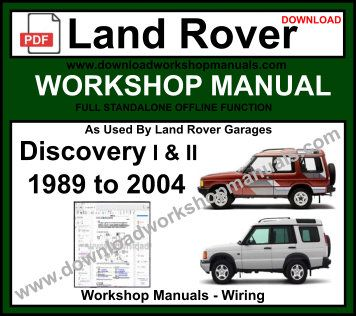 2004 land rover discovery workshop manual
