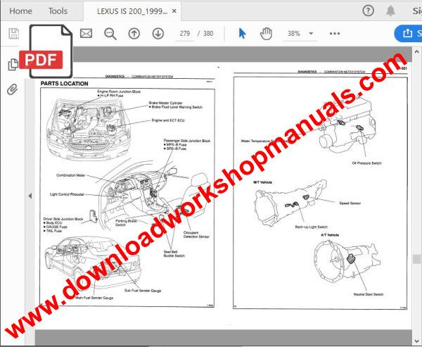 Lexus IS 200 workshop manual