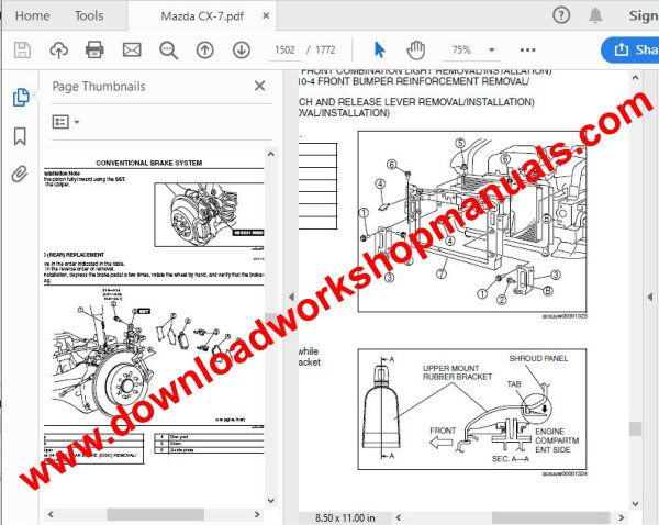 Mazda cx7 Repair manual download PDF