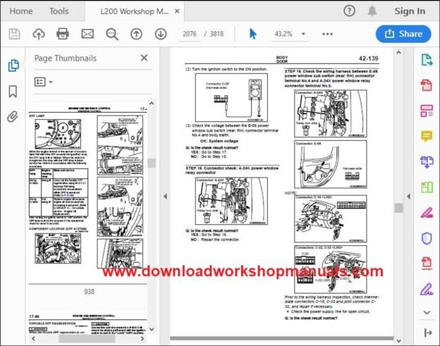 mitsubishi l200 workshop manual download