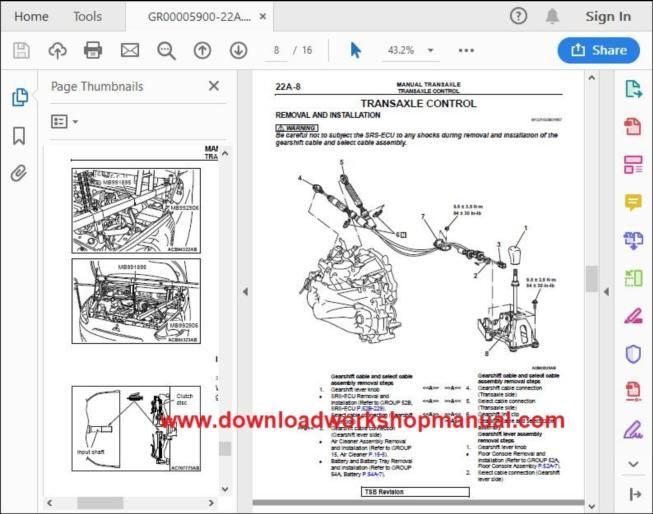 Mitsubishi Space Star Workshop Repair Manual