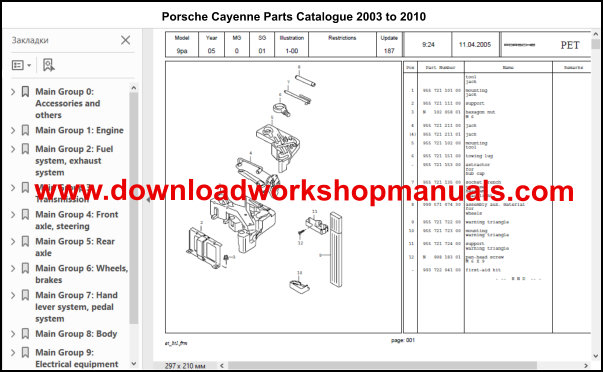 Porsche Cayenne Workshop Service Repair Manual And Parts Catalogue