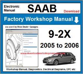 saab 9-2x workshop service repair manual download