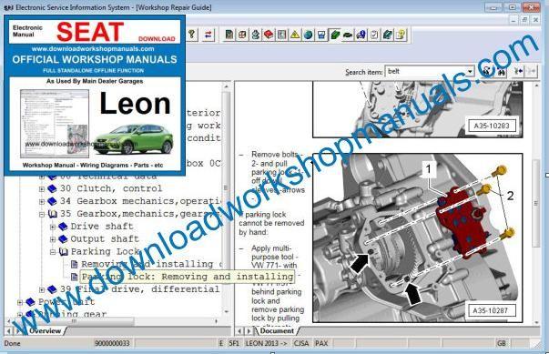 seat leon workshop repair manual. Black Bedroom Furniture Sets. Home Design Ideas