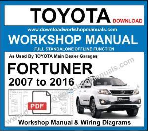 toyota fortuner workshop service repair manual