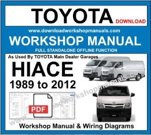 Toyota Hiace Workshop Repair Manual Download