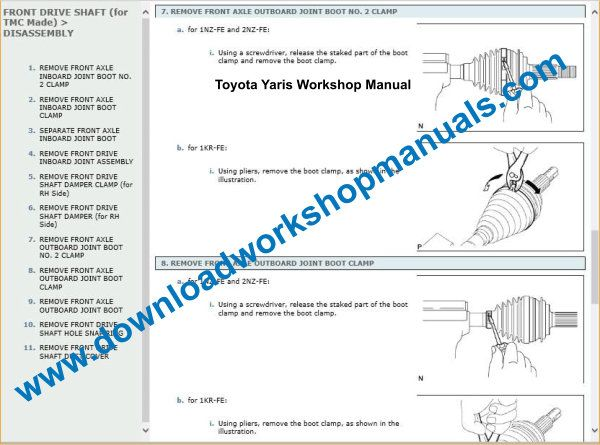 Toyota Yaris Workshop Repair Manual