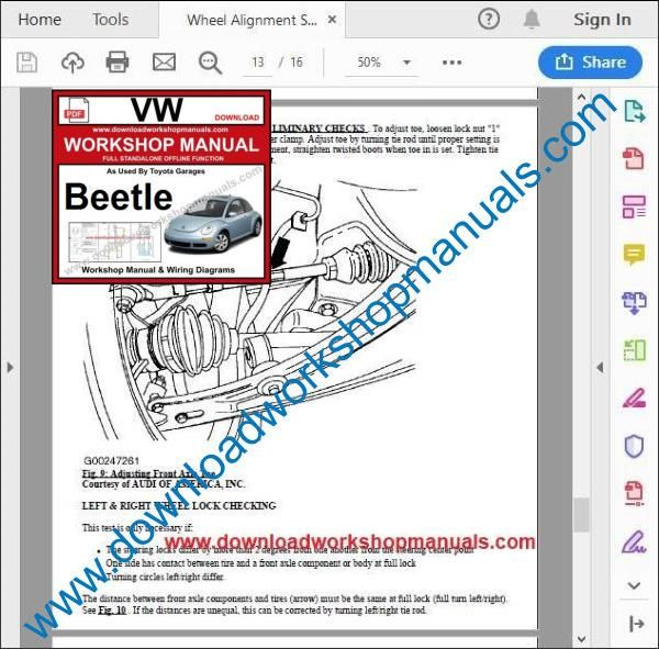 VW Volkswagen Beetle Repair Manual pdf