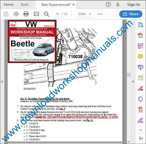 VW Volkswagen Beetle Service Manual pdf