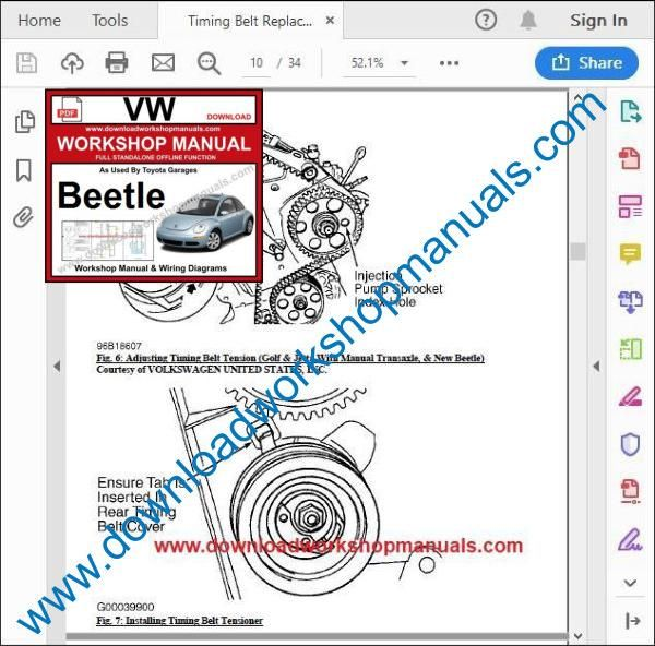 VW Volkswagen Beetle Workshop Manual pdf