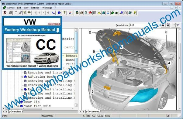 VW Volkswagen CC Workshop Manual