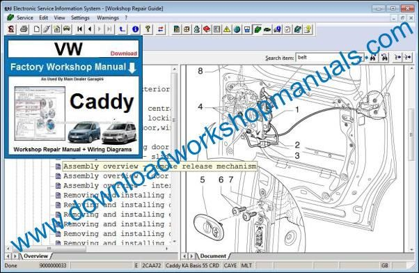 VW Volkswagen Caddy Workshop Manual