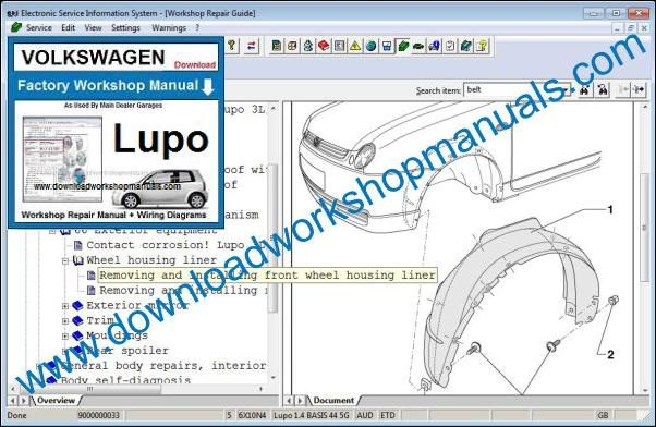 VW Volkswagen Lupo Workshop Manual