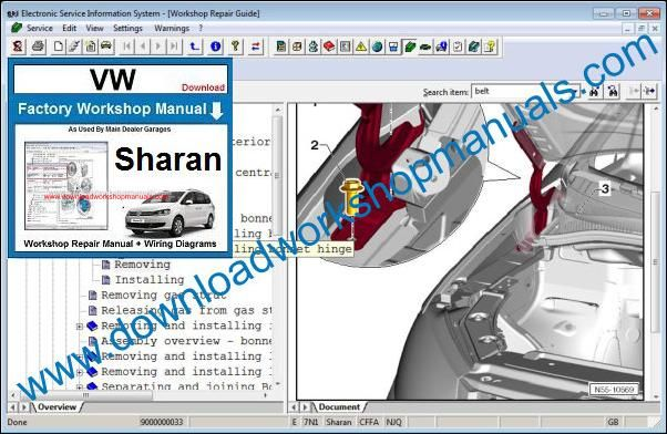 VW Volkswagen Sharan Workshop Manual