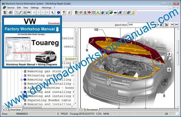 VW Volkswagen Touareg Workshop Manual