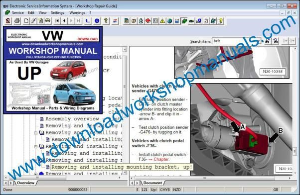 VW Volkswagen Up Service Manual