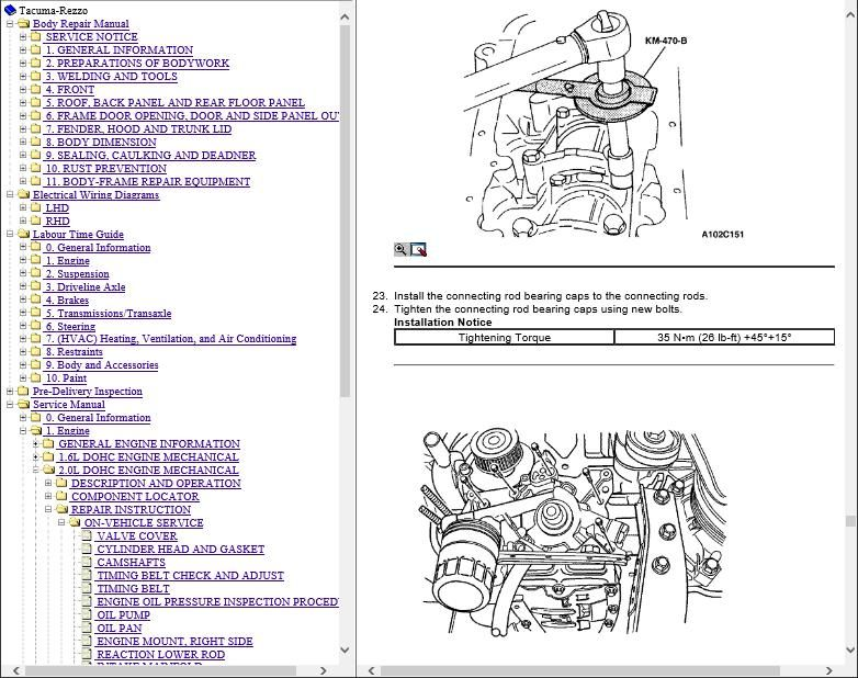 Chevrolet Tacuma Workshop and Wiring Diagrams Manual