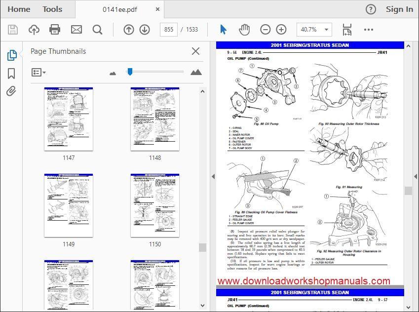 Chrysler Sebring Workshop Service Repair Manual Download