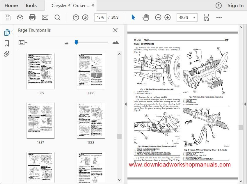 Chrysler PT Cruiser Workshop Manual and wiring diagrams Download