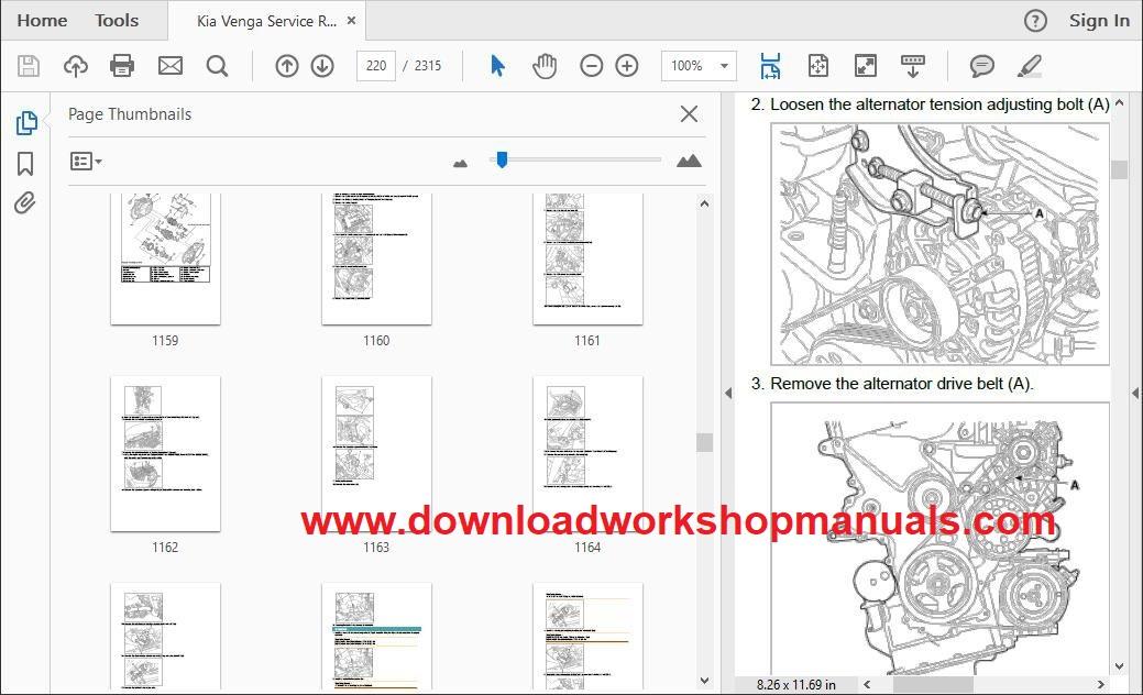 kia venga workshop repair manual