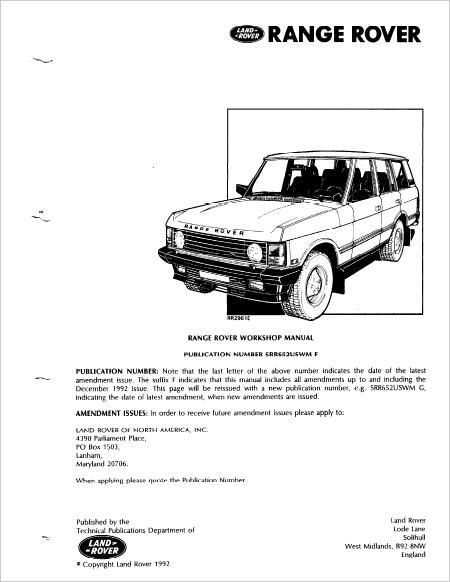Range Rover Classic Workshop Service Repair Manual Download