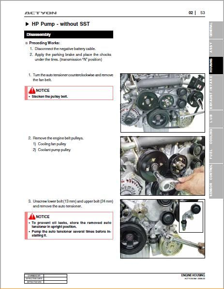 Ssangyong Actyon Workshop Manual