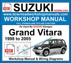 suzuki grand Vitara 1998 to 2005 Service Repair Manual