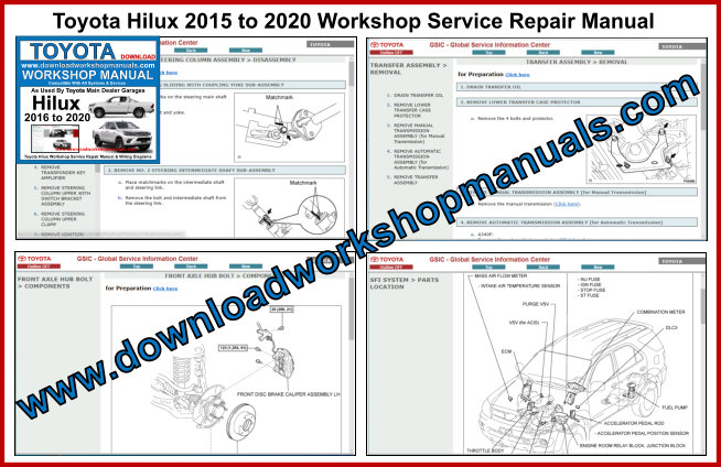 Toyota Hilux 2015 to 2020 Workshop Service Repair Manual